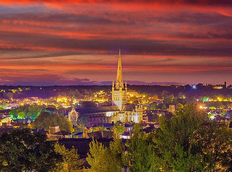 Norwich cathedral at sunset