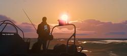 Fishing in the sunrise