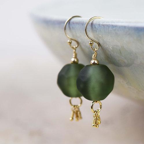 Boucles d'oreilles [Terre] Perles de verre et Or Gold Filled 14k