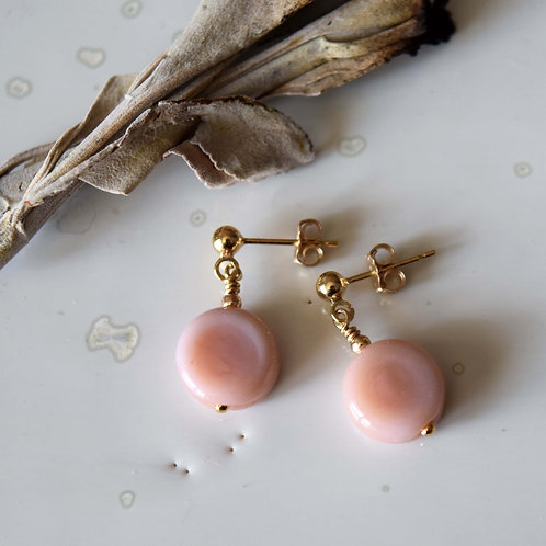 Boucles OSMOSE Rose Chaï | Perles de verre et Or Gold Filled 14k