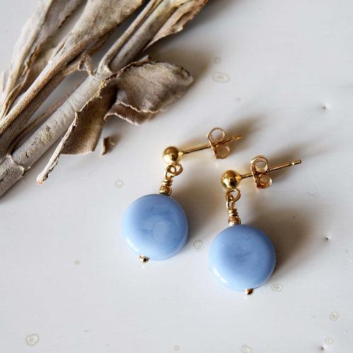 Boucles d'oreilles OSMOSE | Perles de verre Cercle Bleu Feng Shui
