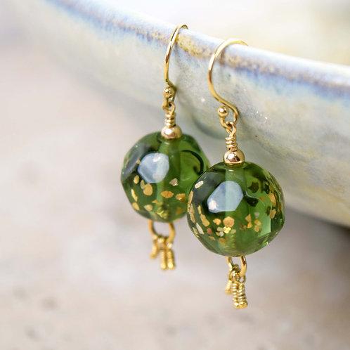 Boucles d'oreilles [feu] Perles de verre Vert + Or gold filled 14K