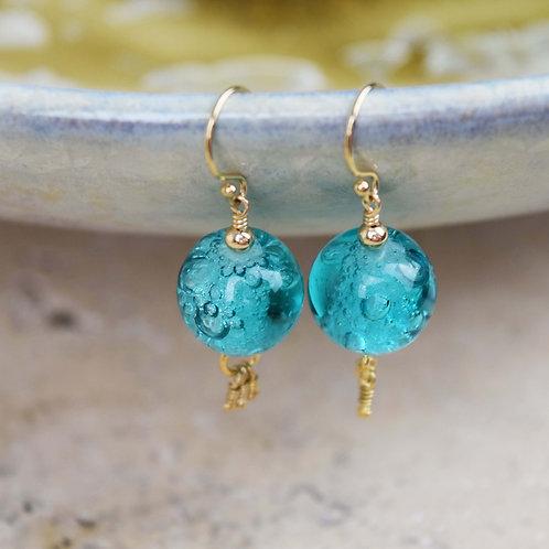 Boucles d'oreilles bohème chic turquoise | AIR | Perles de verre Françaises