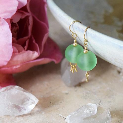 Boucles d'Oreilles [ Terre ] Perles de verre et Or Gold Filled