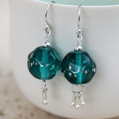 Boucles d'oreilles [feu] Perles de verre et Argent 925