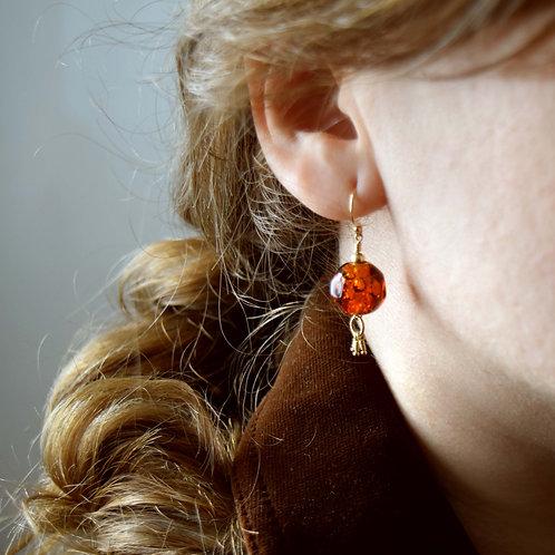Boucle d'Oreilles Ambre en perles de verre et Or Gold Filled 14k