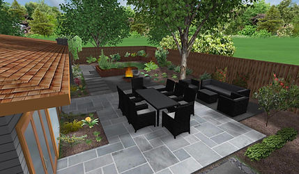 3D walk through of a Mid-century modern backyard