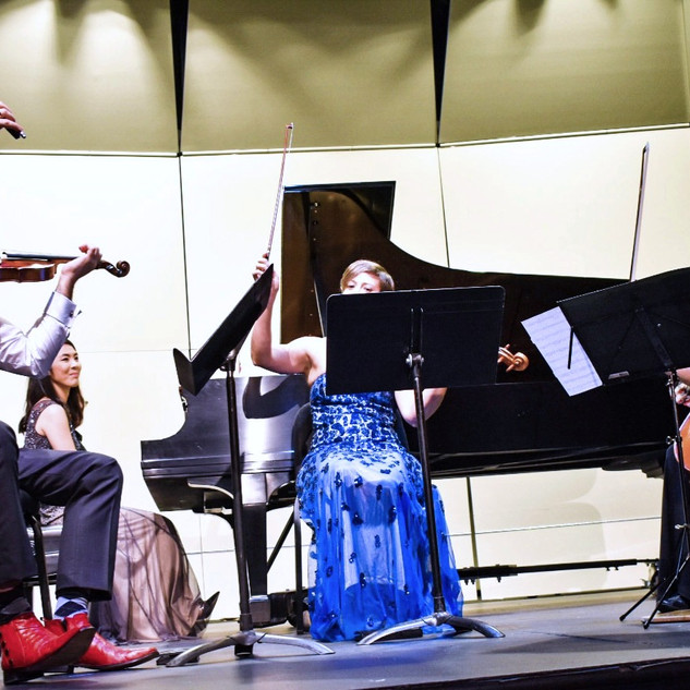 Performing Mozart Quartet with Daniel Stein, violin, Rose Wollman, viola, and Laura Turner, cello