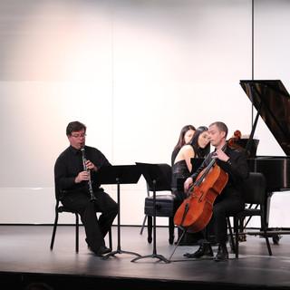 Performing Brahms trio with Jason Gresl, clarinet & Josh Aerie, cello