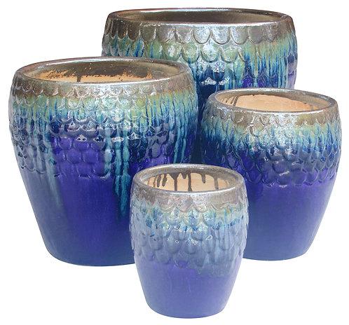71805 Scale Rim Pot Amber Blue