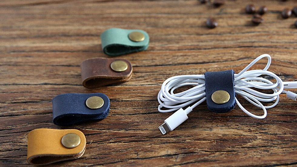Headset Earphone Wire Portable USB Cable Cord Leather Winder Headphone