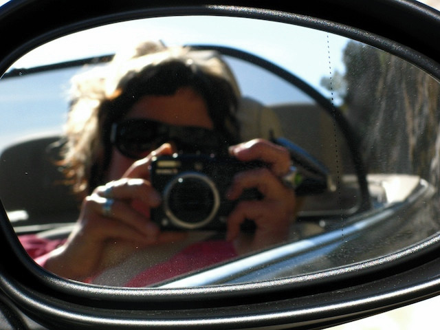 Blond me, already with my small compact camera, in France, where from I was taking my plain to my new life in Dahab
