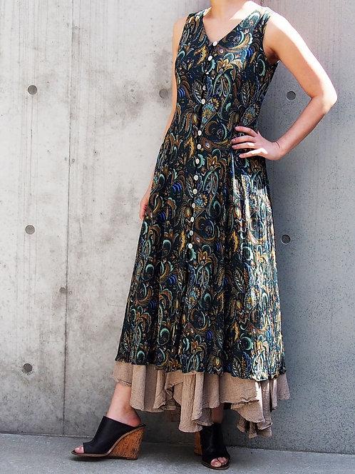 PAISLEY PATTERN 2WAY LONG DRESS
