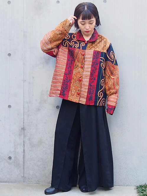 PATCHWORK EMBROIDERY DESIGN MIXED JACKET
