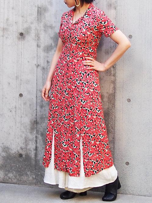 FLORAL PATTERN  SHIRT STYLE LONG DRESS