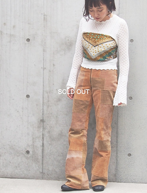 PATCHWORK DESIGN SUEDE BOOT CUT PANTS
