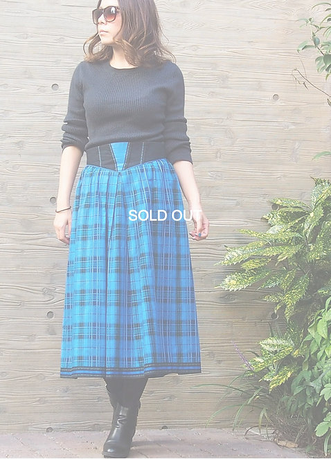 CHECKED EMBROIDERED SKIRT