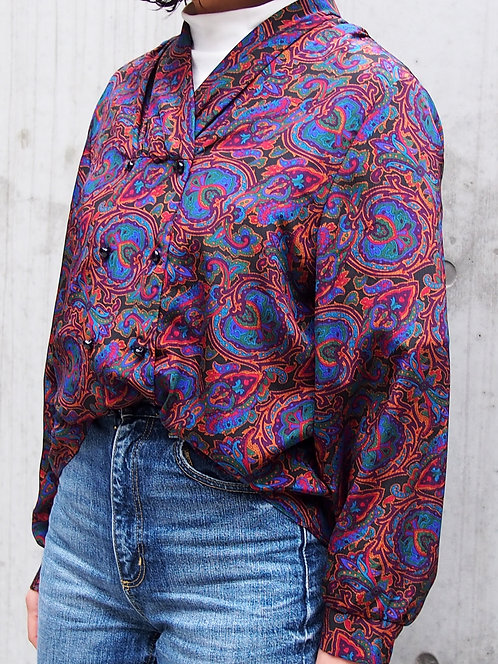 PAISLEY PATTERN DOUBLE BUTTON BLOUSE