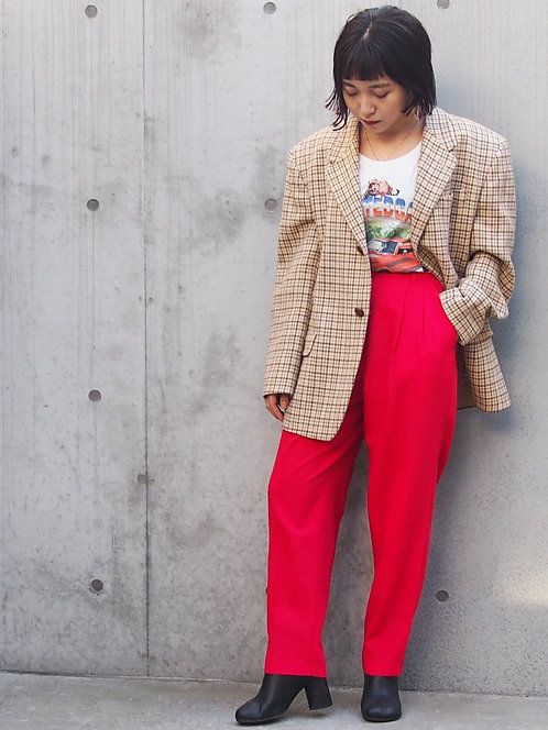 RED COLOR CROPPED PANTS