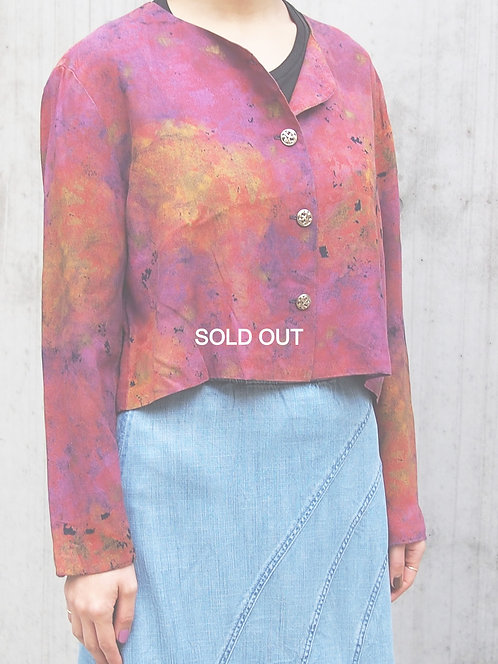 TIE DYE PATTERN NO COLLAR JACKET