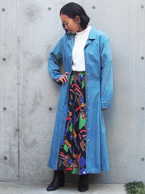 2WAY DENIM SHIRT LONG DRESS