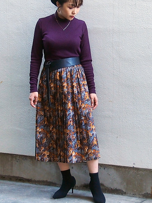 PAISLEY PLEATED SKIRT