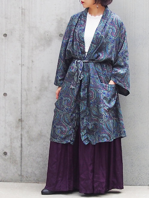 PAISLEY PATTERN SILK LONG GOWN