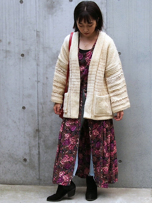 MIXED KNIT GOWN