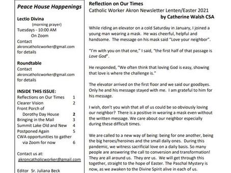 Catholic Worker Akron 2021 Spring Newsletter