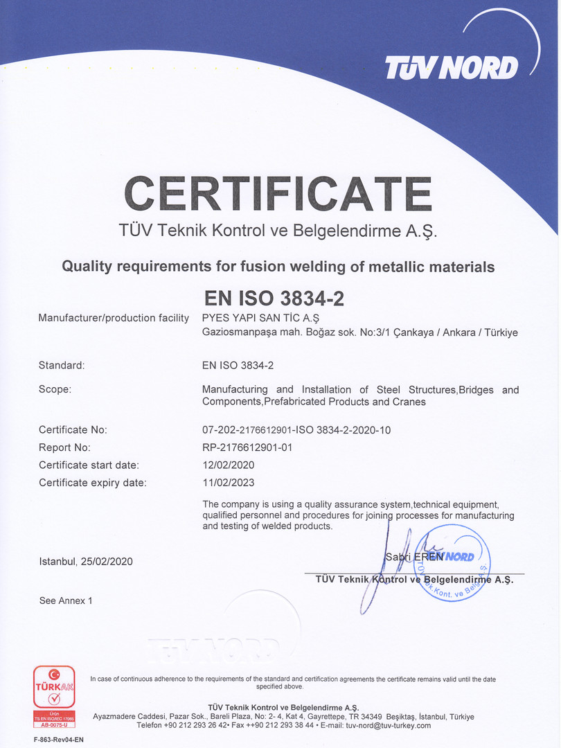 CERTIFICA.    Quality requirements for fusion welding of metallic materials                                       EN ISO 3834-2