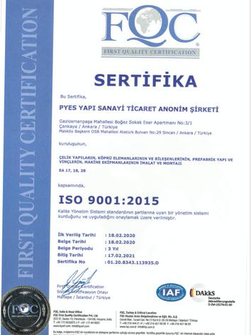SERTİFİKA ISO 9001:2015