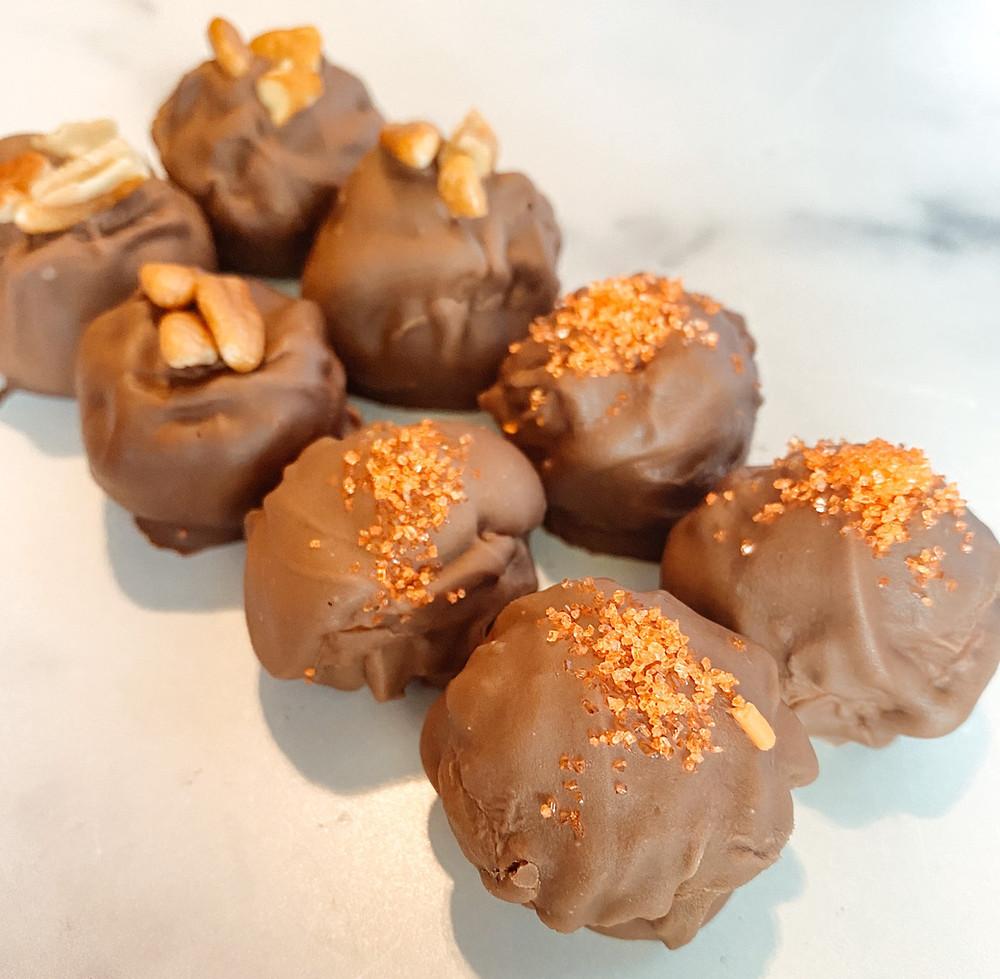 homemade pecan butter truffles for fall