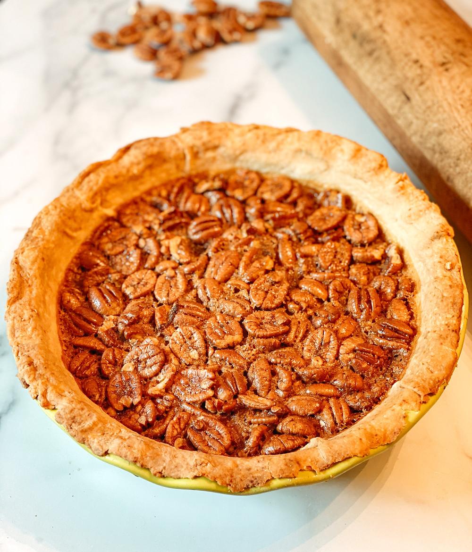 Maple Pecan Pie with fresh pecans