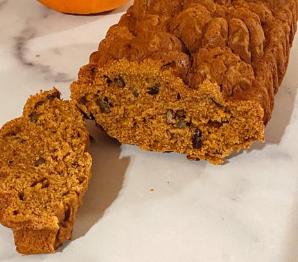 fresh fluffy pumpkin bread