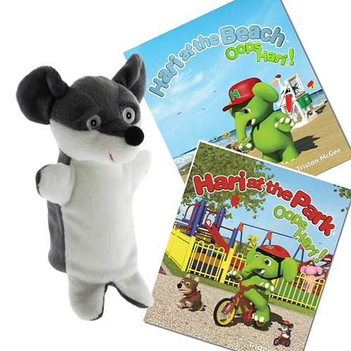Moe Hand Puppet And Two Books