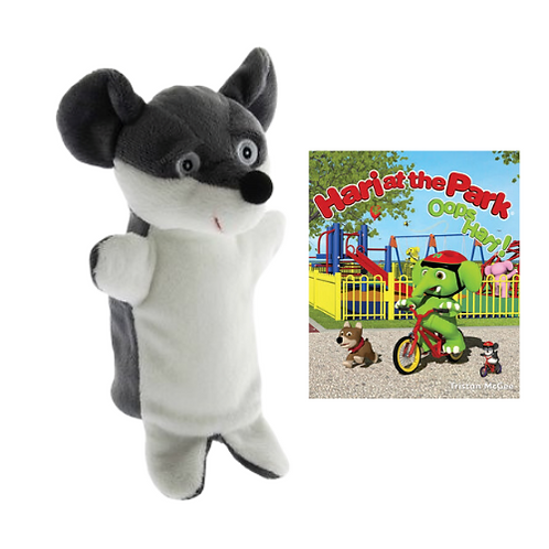 Hari at the Park book with Moe Hand Puppet