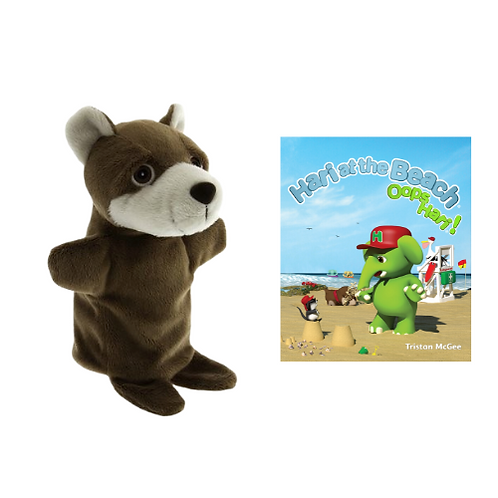 Hari at The Beach book with Max hand puppet