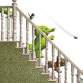Hari's World - Hari at Home on the stairs