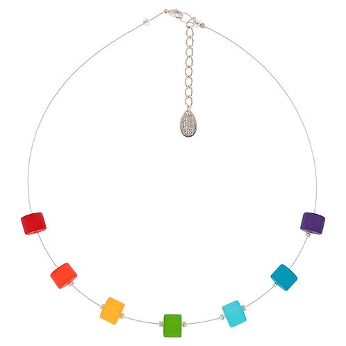 Frosted rainbow necklace, matching bracelet and earrings available if in stock.