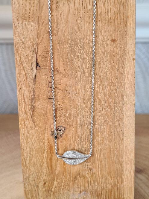 Silver fallen leaf necklace