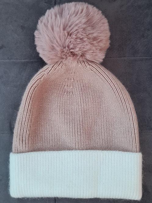 Dusky Pink Bobble Hat
