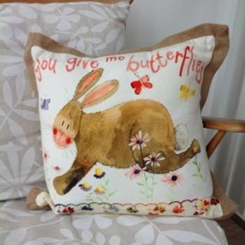 You Give Me Butterflies Rabbit Cushion