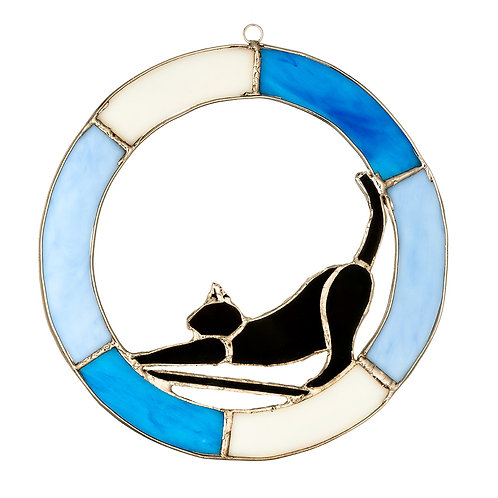 Stained Glass Hanging Cat Sign