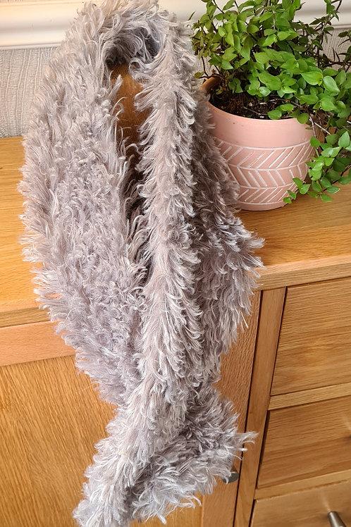 Grey fake fur scarf.