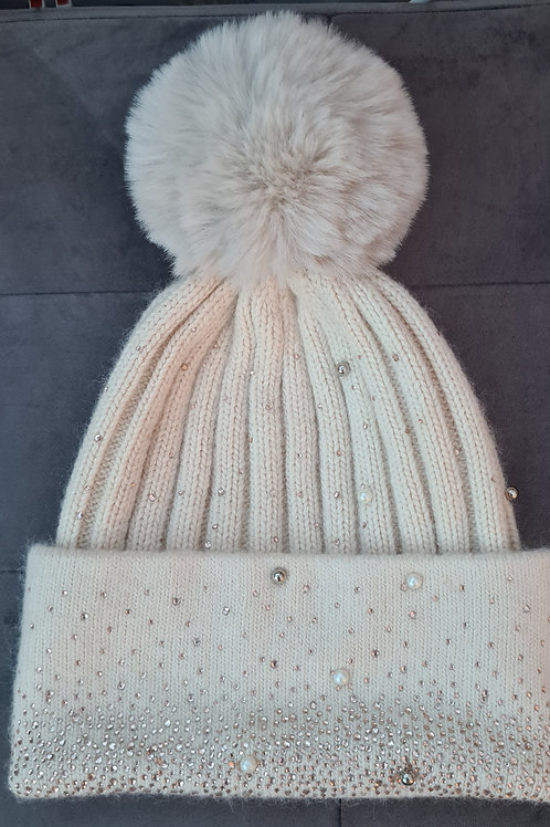 Sparkly cream Bobble Hat with Pearls and beads
