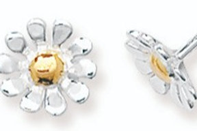 Silver Daisy earrings with gold centre