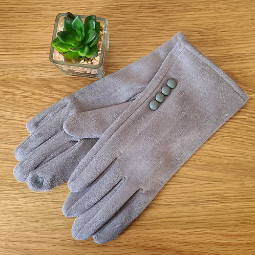 Grey gloves with button detail