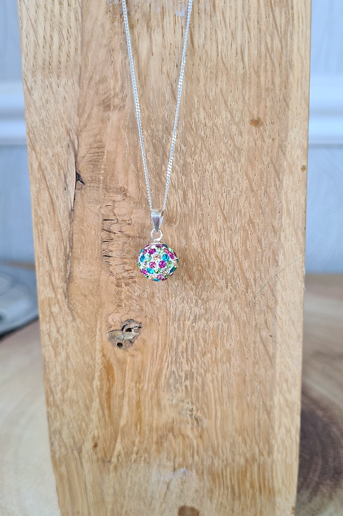 Sterling silver multi colour crystal necklace