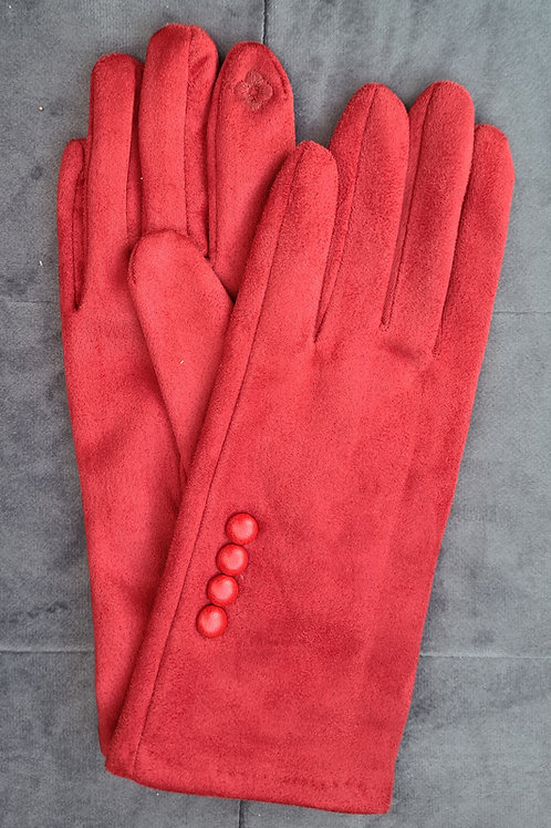 Red Gloves with button detail.