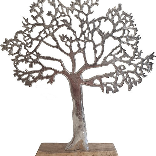 Silver metal tree on wooden base